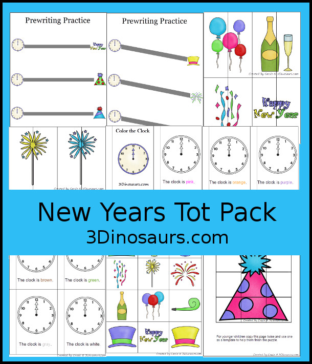 Free New Years Tot Pack - with a mix of hands-on and no-prep activites for New Years - 3Dinosarus.com