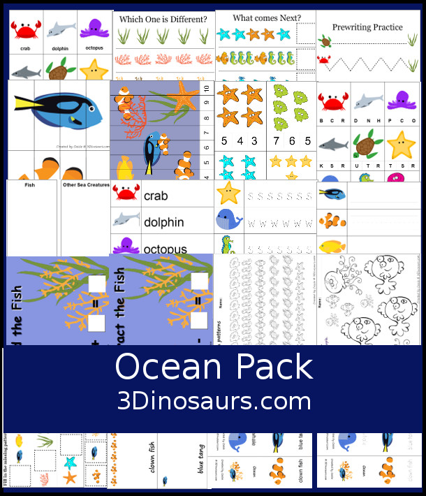 Free Ocean Pack for Prek and Kindergarten with counting, writing, beginning sounds, matching rewriting, patterns, addition and subtraciont mats, and more - 3Dinosaurs.com