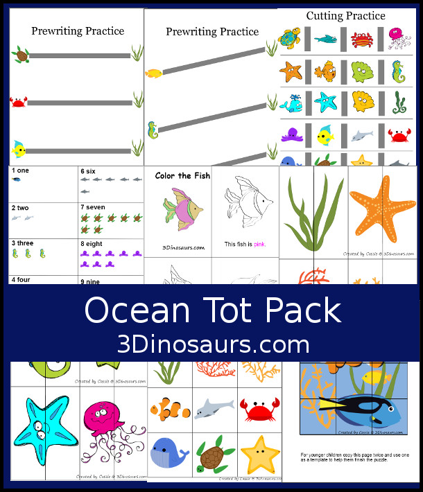 Free Ocean Pack for Tot and Preschool with counting, prewritng, 2 piece puzzles, color book, 9 piece puzzle matching and more - 3Dinosaurs.com