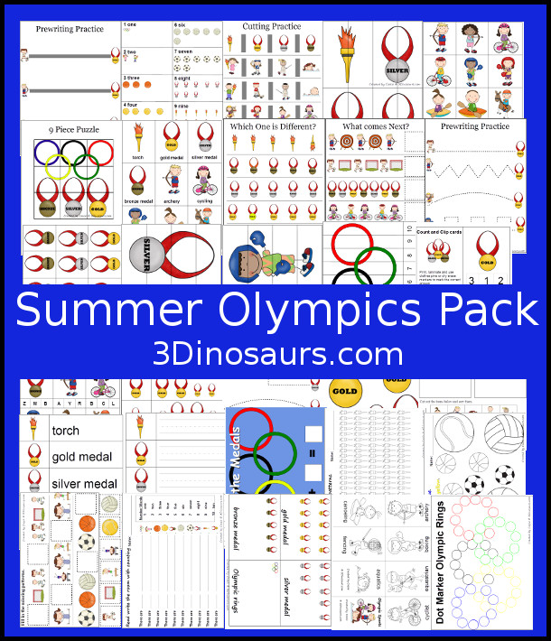 Free Summer Olympics Printables - over 100 pages - 3Dinosaurs.com