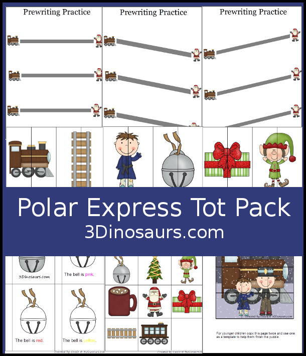 Free Polar Express Tot Pack Pritnables - with 11 pages of fun printables to learn with colors, prewriting, puzzles and matching - 3Dinosaurs.com