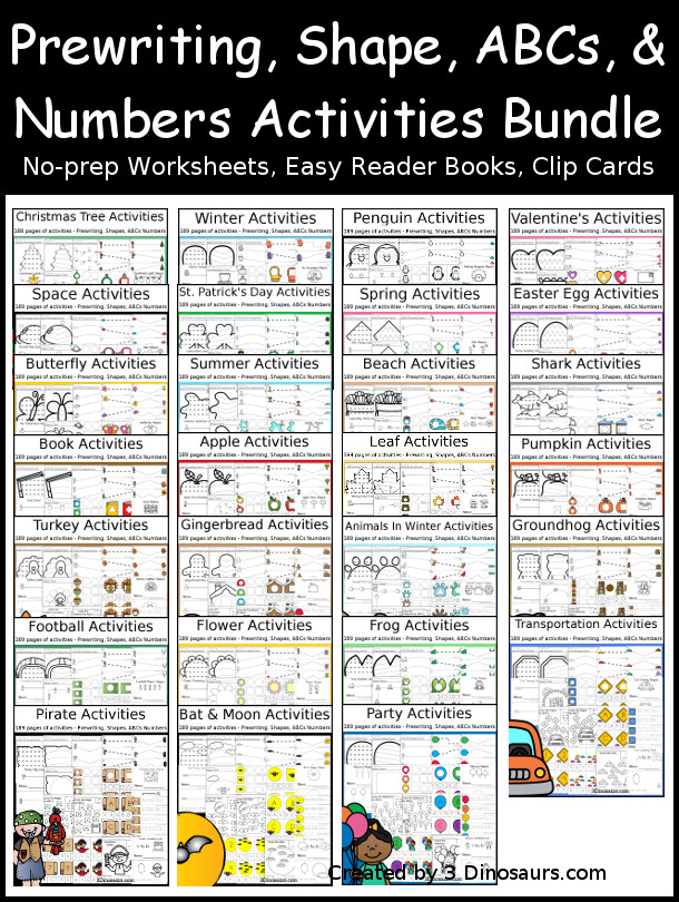 Themed Activities Pack with Prewriting, Shapes, ABCs, and Numbers Bundle - a fun growing bundle with activities with no-prep pages, clip cards and tracing strips to help with learning skills - 3Dinosaurs.com