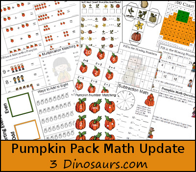 Free Pumpkin Pack Update: Math Activities - 3Dinosaurs.com