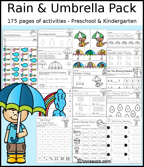 Rain & Umbrella Themed Spring Pack for PreK & Kindergarten with 175 pages of activities, easy reader books, ABCs, numbers, CVC, addition, subtraction, and no-prep printables - 3Dinosaurs.com