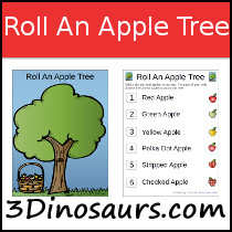 Roll an Apple Tree Math Printable
