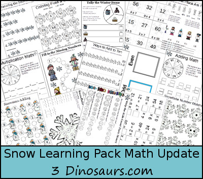 Free Snow Learning Pack Update: Math Activities - 3Dinosaurs.com