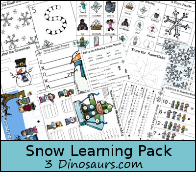 Free Snow Learning Pack! - 3Dinosaurs.com