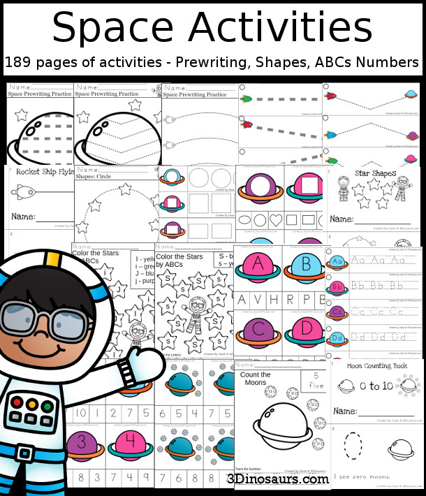 Space Activities Pack with Prewriting, Shapes, ABCs, and Numbers - 191 pages of activities with no-prep pages, clip cards and tracing strips to help with learning skills - 3Dinosaurs.com