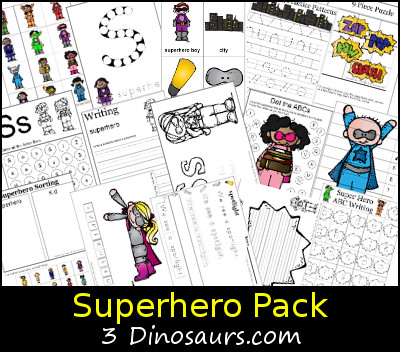 Free Superhero Pack - over 70 pages of activities - 3Dinosaurs.com