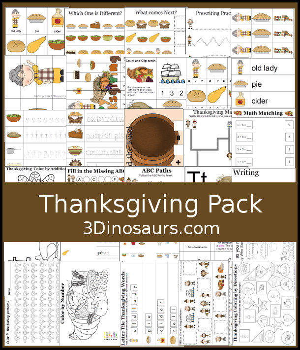 Free Thanksgiving Pack for PreK, Kindergarten, First Grade - over 120 pages for the pack with a mix of hands-on and no-prep activities - 3Dinosaurs.com