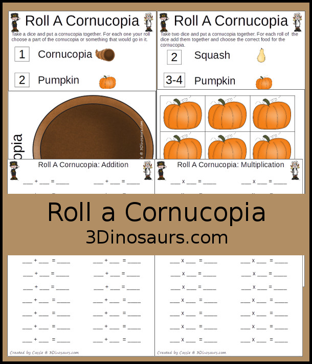 Free Roll A Cornucopia Printable - counting, addition, multiplcation with a Thanksgiving food theme -  3Dinosaurs.com