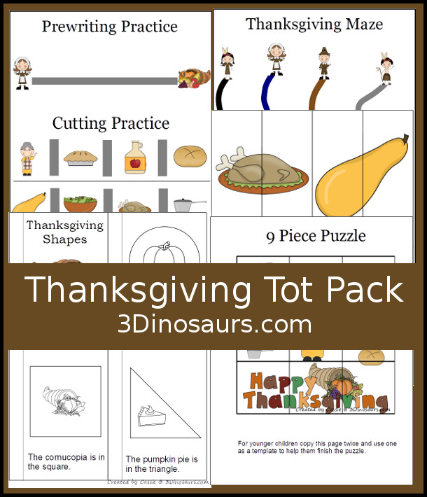 Free Thanksgiving Tot Pack for Tot and Preschool age kids - over 29 pages for the pack with a mix of hands-on and no-prep activities - 3Dinosaurs.com