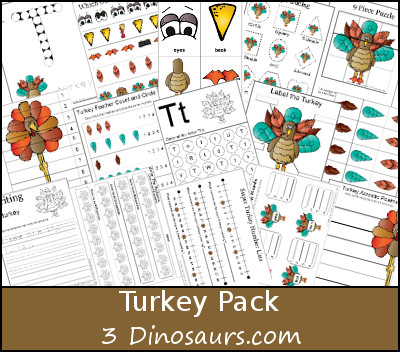 Free Turkey Pack - over 50 pages of activities - 3Dinosaurs.com