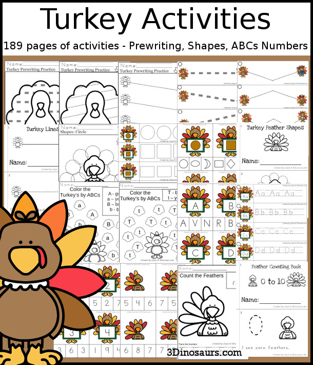 Turkey Activities Pack with Prewriting, Shapes, ABCs, and Numbers - 191 pages of activities with no-prep pages, clip cards and tracing strips to help with learning skills. A great addition to any Thanksgiving or fall theme you do. - 3Dinosaurs.com