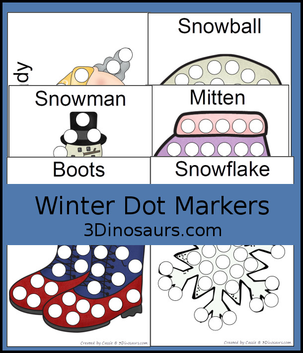 Free Winter Pack Dot Markers - 24 pages of winter themed dot markers - 3Dinosaurs.com