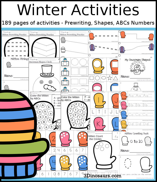 Winter Activities Pack with Prewriting, Shapes, ABCs, and Numbers - 189 pages of activities with no-prep pages, clip cards and tracing strips to help with learning skills - 3Dinosaurs.com