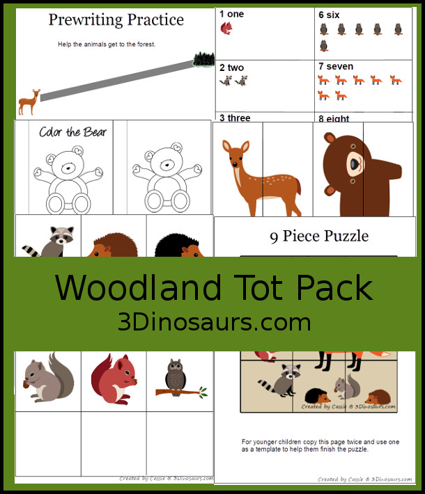 Free Woodland Pack: Tot & Preschool- a mix of hands-on activities and no-prep printables to explore animals from the woodlands or forest. These are fun activities to use with a mix of ages with 13 pages of printables - 3Dinosaurs.com