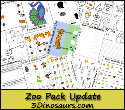 Zoo Printables Update