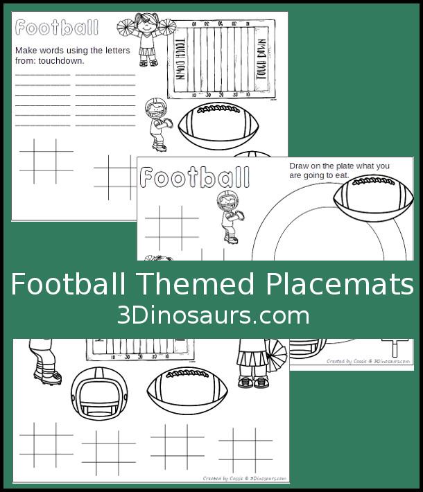 Free Football Themed Placemats - 3 different placemats to pick from - 3Dinosaurs.com