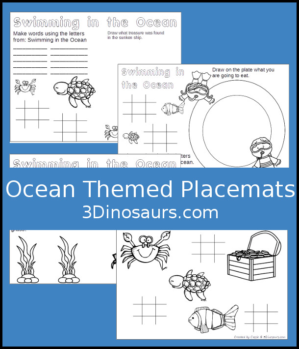 Free Ocean Themed Placemats - 4 different placemats to pick from - 3Dinosaurs.com