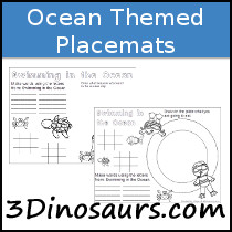 Ocean Themed Placemat Printables - 3Dinosaurs.com