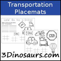 Transporation Themed Placemat Printables - 3Dinosaurs.com