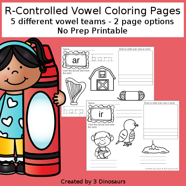 R-Controlled Vowels Coloring Pages - ar, er, ir, or, ur words with 2 options for each page - 3Dinosaurs.com