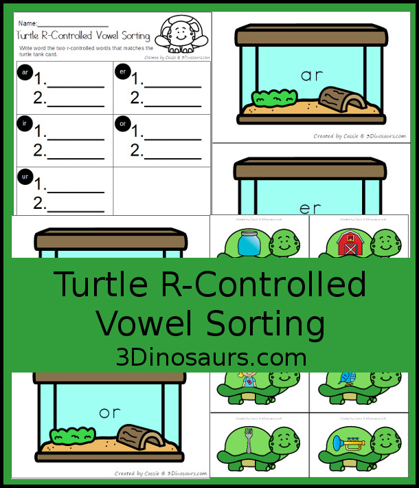 Free Turtle Themed R-Controlled Vowel Sorting - 5 sorting match with 2 turles and recording worksheet - 3Dinosaurs.com