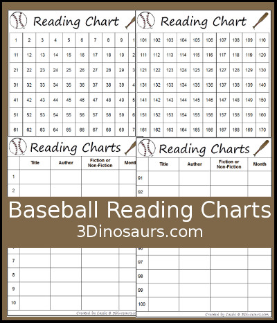 Baseball Themed Reading Charts - 3Dinosaurs.com