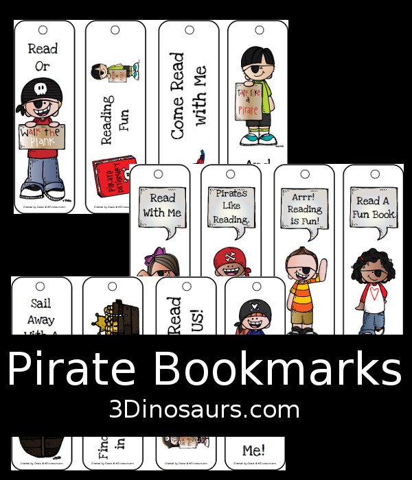 Free Pirate Themed Bookmarks - 12 different ones to pick from - 3Dinosaurs.com