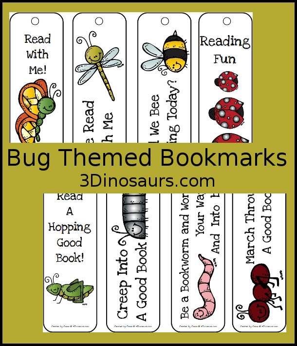 Free Bug Themed Bookmarks - 8 different bookmarks for kids to use - 3Dinosaurs.com