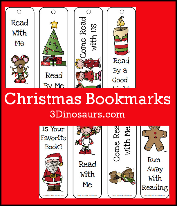 Free Christmas Themed Bookmarks - 8 different ones to pick from - 3Dinosaurs.com
