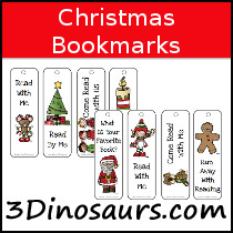 Christmas Themed Bookmarks - 3Dinosaurs.com