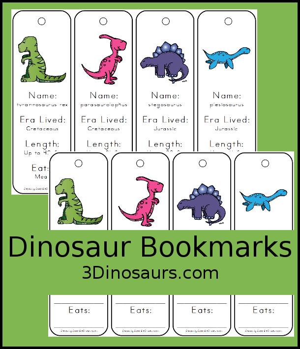Free Fun Dinosaur Information Bookmarks For Kids - 7 different dinosaurs - 3Dinosaurs.com