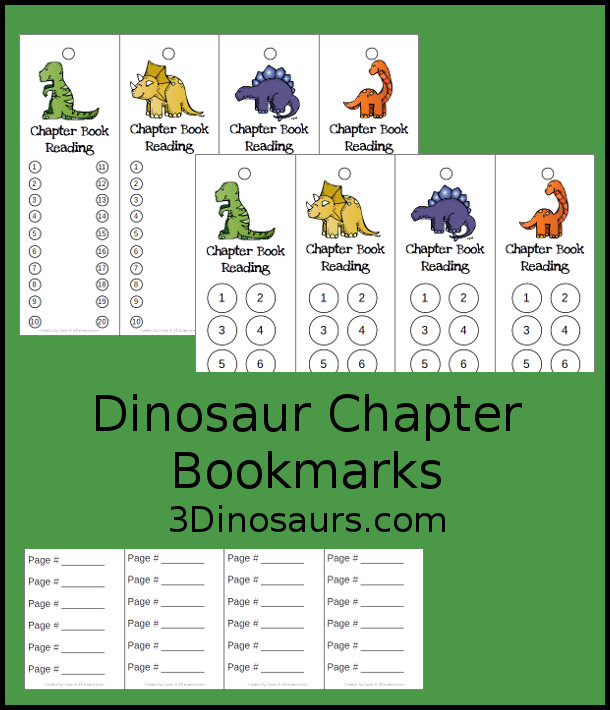 Free Dinosaur themed chapter bookmarks for kids to use for reading chapter books. It comes in three different options - 3Dinosaurs.com