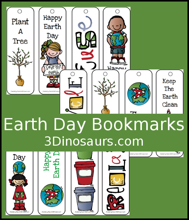Free Earth Day Bookmarks - 12 different bookmarks for kids - 3Dinosaurs.com
