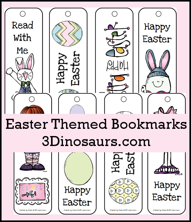 FREE Easter Themed Bookmarks - 3Dinosaurs.com