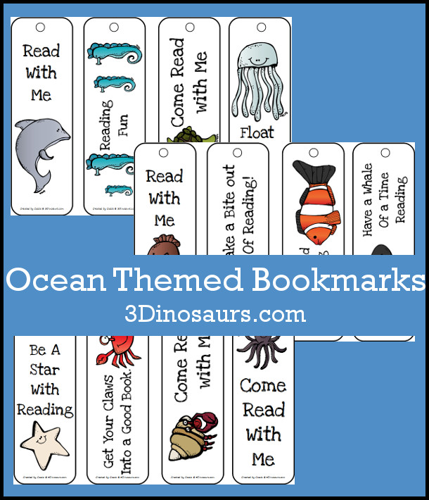 Free Ocean Themed Bookmarks - 12 different ones to pick from - 3Dinosaurs.com
