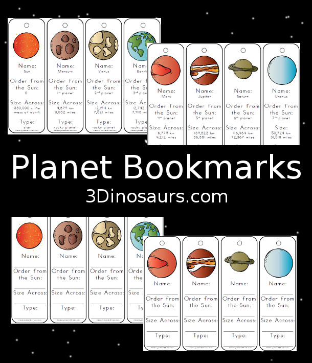 Free Handy Planet Information Bookmarks - 2 types of bookmarks for kids to use - 3Dinosaurs.com