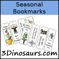 Seasonal Bookmarks - 3Dinosaurs.com