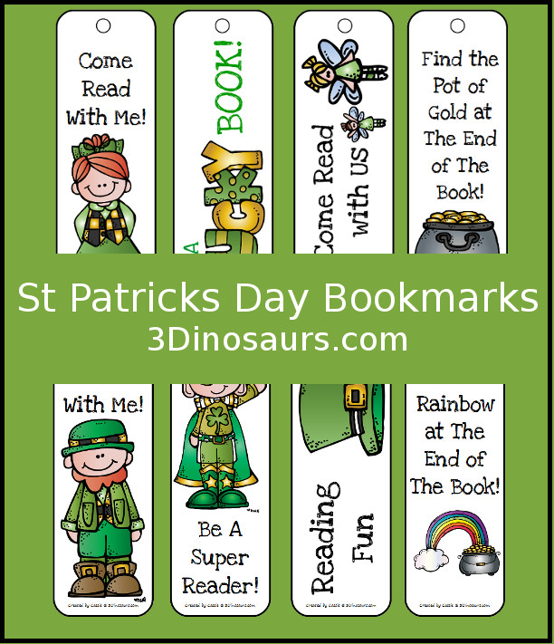 FREE St. Patrick's Day Themed Bookmarks - 3Dinosaurs.com
