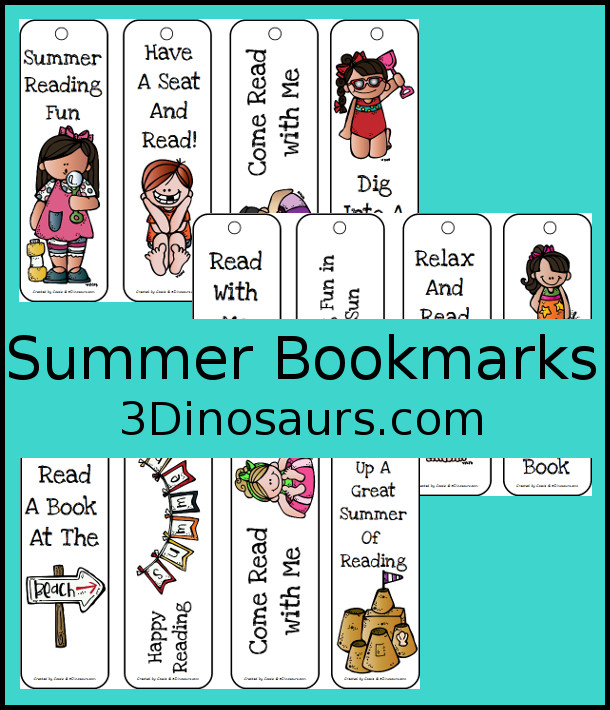 Free Summer Themed Bookmarks - 12 different ones to pick from - 3Dinosaurs.com