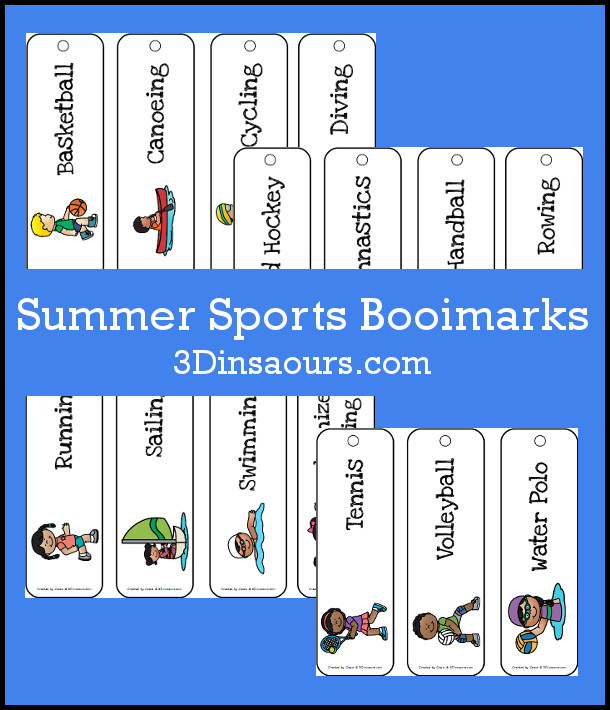 Free Summer Sports Bookmarks - 4 pages of bookmarks with 15 summer sport themes - 3Dinosaurs.com
