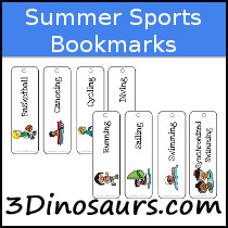Summer Sports Themed Bookmarks - 3Dinosaurs.com