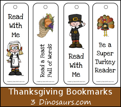 Free Thanksgiving Themed Bookmarks for kids - 3Dinosaurs.com
