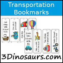 Transportation Bookmarks - 3Dinosaurs.com
