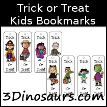 Trick or Treat Themed Bookmarks - 3Dinosaurs.com