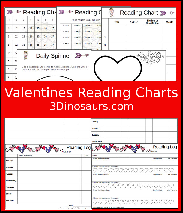 Free Easy to Read Valentines Reading Chart Printables - weekly charts, 100 charts and minutes charts - 3Dinosaurs.com