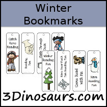 Winter Themed Bookmarks - 3Dinosaurs.com