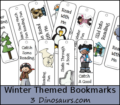 FREE Winter Themed Bookmarks - 3Dinosaurs.com